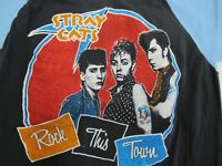 RARE Vintage 1980s STRAY CATS Concert Tour Promo Raglan T Shirt Rockabilly Punk