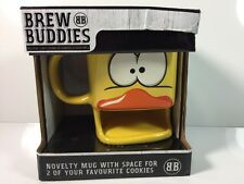 NEW Brew Buddies Novelty Yellow Funny Face Duck Coffee Mug Holds Small Cookies!!