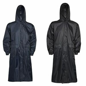 Mens Waterproof Plain Long Coat Hooded Mac Fishing Windproof Lightweight Jacket