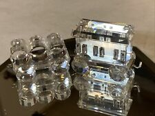 Swarovski Silver Crystal Mini Train 2 Cars - Petro Barrels & Passenger Carriage