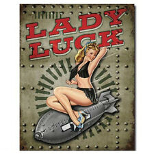 LADY LUCK WW 2 War Bomb Tin Sign Metal Poster