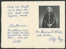 Elly Ney (Piano): Printed Facsimile Greeting and Quotation w/ Photograph