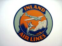 "Vintage Airline Label ""Inland Air Lines"" w/ Airplane & Cowboy on Horse*"