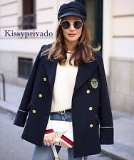 ZARA Navy Blue Double Breasted Wool Military Jacket Coat Gold Buttons M BNWT