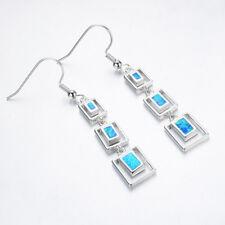 Holiday Jewelry European Style Blue Fire Opal Gems Silver Dangle Hook Earrings