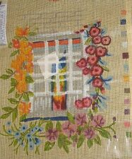 Tapestry Canvas Pink Yellow Flowering Climbing Vine Window Muted Colours Printed