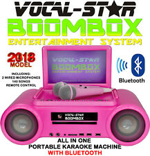 PINK VS BOOMBOX PORTABLE CDG DVD BLUETOOTH KARAOKE MACHINE 2 MICS 140+ SONGS