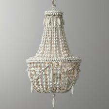 Antique White Wood Beaded Basket 3-Light Chandelier Living Room Ceiling Lamp CE