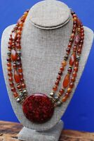 Vintage Lucite Gold Tone Rose and Amber Beaded 3 Strand Necklace