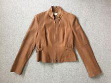 Karen Millen Ladies Tan Leather Jacket - Size 14 Biker Style