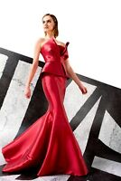NWT Designer Red Strapless Taffeta Evening Gown *Size 12