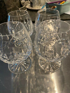 """4 Waterford Lismore Brandy glasses signed waterford used 5 1/4"""""""