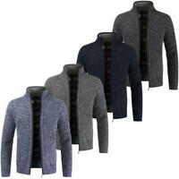 New Mens Winter Warm Slim Sweater Knitted Cardigan Jumper Zip Fleece Lined Coat