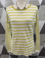 Vince Women's Size M White Yellow Linen Scoop Neck Long Sleeve Top Blouse #5C73