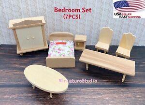 7PCS Dollhouse Miniature 1/24 Bedroom Unpainted Wooden Furniture Set Accessories