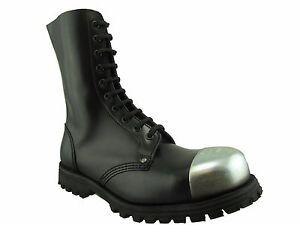 Steel Ground Combat Boots Black Leather 10 Eye Safety External Cap Punk