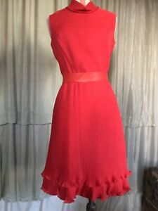vintage 60's 70's Berketex red frilly mini fitted sleeveless dress