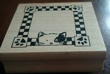 """QUALITY CAT Stamp, FRAME STYLE, Wood with Rubber, A1888E, Rubber Stampede, 2"""""""