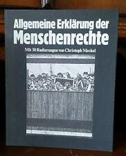 Christoph Meckel droits de l'homme préférence édition a signés Gravure Gutenberg