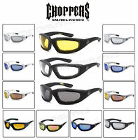 Choppers 901 Padded Foam Wind Resistant Sunglasses Motorcycle Glasses UV Protect