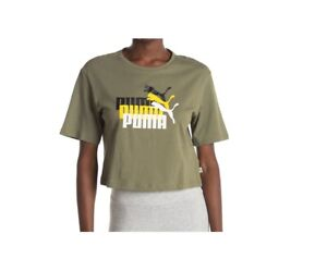 Puma Women's Relaxed Fit Triple Threat Cropped Green Tee Top T-shirt Size XL NEW