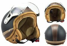 SOXON SP-325 Urban B Motorcycle Jet Vespa Scooter Helmet Leather ECE LARGE