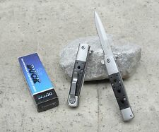 """8.75"""" Duck Stiletto Blade Black Wood Italian Style Spring Assisted Pocket Knife"""