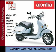 Aprilia Mojito 125 2008 Workshop Service Repair Manual + Parts Catalogue