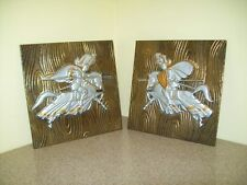 Vintage Tin/Tole Medieval Jousting Knights Trivets/Wall Decor (Set of 2)