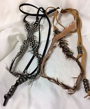 URBAN OUTFITTERS LOT OF 2 LEATHER FEATHER BEADS TIE HEAD HAIR BAND $56 SALE!!