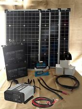 160W 4 PANEL SOLAR KIT, CHARGE CONTROLLER, INVERTER, 2 BATTERIES & MOUNTING KIT