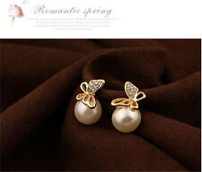 Fashion Womens Crystal Butterfly Pearl Ear Stud Earring Gold Eardrop Earbob