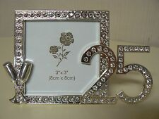 Giftcraft 25TH ANNIVERSARY PICTURE FRAME Crystals Silver NEW Holds 3x3 Photo