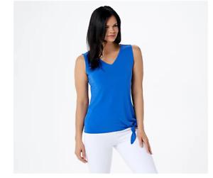 Susan Graver Liquid Knit Sleeveless Tie Front Top-Dazzling Blue-XL-NEW-A351041