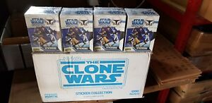 """8 x BOXES STAR WARS """"THE CLONE WARS"""" STICKERS  MERLIN TOPPS 2008 NEW SEALED"""