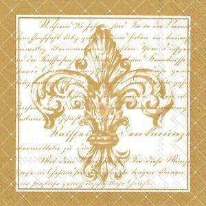 "Napkin/Luncheon, Paper, 6.5"" x 6.5"", French Fleur De Lis White & Gold"