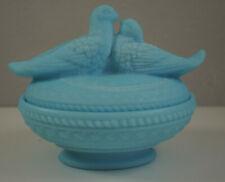 Vintage Love Birds Doves Blue Slag Glass Lidded Bowl Westmoreland