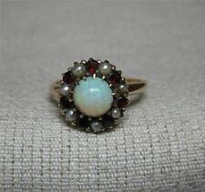 Opal Garnet Pearl 10K Wedding Engagement Ring Belle Epoque Victorian c1900