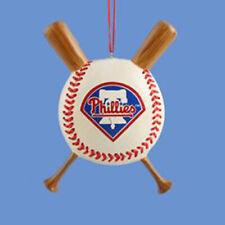 Philadelphia Phillies Baseball and Crossed Bats Christmas Ornament