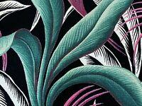 SALE Hollywood Regency Palms Barkcloth Vintage Fabric Drape Curtain 30s Art Deco