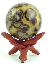 "BUTW Septarian Gemstone Dragon Stone 78mm/3.1"" Lapidary Carved Sphere 0742P"