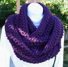 Dark Solid Purple Infinity Scarf, Long Handmade Crochet Knit Circle Endless Cowl