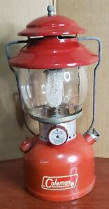 Coleman 1965 Lantern Red 200A with Globe Camping Dated 7/65