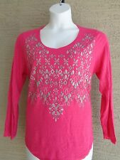 Just My Size Ultra Luxe Rayon Blend L/S Glitzy Graphic  Tee Top 5X Raspberry
