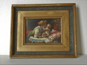 """High Renaissance French or Italian School Mother & Child Oil on Panel 9.75"""" x 8"""""""
