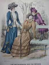 """33/ GRAVURE DE MODE """" Moniteur de la Mode Paris 1891 """".   Grand format 36x26"""