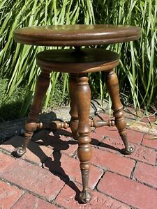 Antique Victorian Wood PIANO STOOL Glass Ball & Claw Feet 1800's Repair Project
