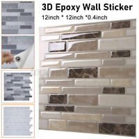 3D Waterproof Bathroom Kitchen Tile Sticker Self-adhesive Wall Home Decor