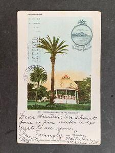 1906 HAWAII POSTCARD HAWAIIAN BAND PALACE COURT USED WAILUKU MAUI !! PMC PRIVATE