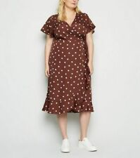New Look Wrap Dress Curve Plus Size 18 & 22 Brown Spot Print Midi Dress NEW EY55